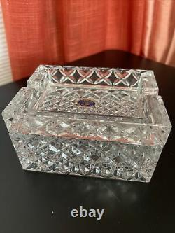 Vintage Lead Crystal Over 24% Two Pieces Cigarette Box Holder And Lid Ashtray