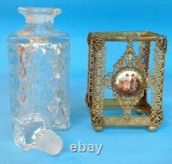 Vintage Ormolu Crystal Enameled Perfume Scent Bottles & Trinket Box 5-piece Set