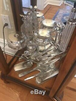Vintage Sterling Silver And Crystal 14 Piece Vanity Set With 3 Additional Pieces