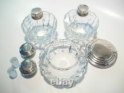 Vintage Three Piece Vanity Set Silver Plate & Crystal Early 20th Century