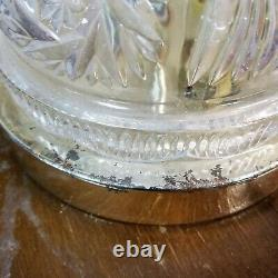 Vtg Crystal Tulip Shade 2-Piece Hurricane Lamp 15