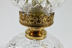 Vtg Waterford Crystal Tulip Shade 2-Piece Hurricane Lamp 13 Irish Electric A+++