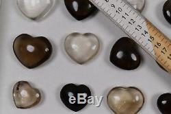 WHOLESALE Smoky Quartz and Clear Quartz Hearts 24 pieces 1 kg # 6075