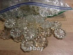 100 Antique Vintage Verre Clair Fleur De Cristal Rosette Prisms Pièces 1 Dia