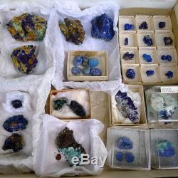 100 $ De Rabais! 31 Pièces Lot Azurite Cristal Specimens 1970 Ajo Jerome Helv Az Ut MX