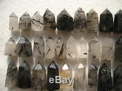 100 Pièces Rare Naturel Cristal De Quartz Noir Tourmaline Point De Guérison