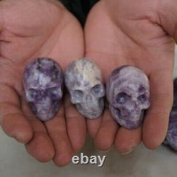 10 Pièces Mince Naturelle Mica Quartz Cristal Skull Carving Healing Afrique