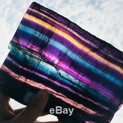 1200g Naturel Arc-en-fluorite Tranche De Cristal De Quartz Morceau De Guérison Des Échantillons De Pierre