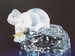 1988 $ 275 Faberge Cristal Ours Blanc Sur Iceberg En Bois Sculpté 1 Pièce De Cristal Signé