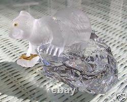 1989 $275 Faberge Crystal Polar Bear Iceberg Carved 1 Piece Crystal Signed + Coa