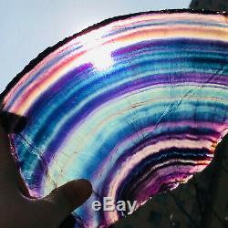 2.6lb Naturel Arc-en-fluorite Tranche De Cristal De Quartz Morceau De Guérison Des Échantillons De Pierre