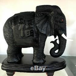 2 Pièces Obsidienne Naturel Sculpté Éléphant En Cristal De Guérison Artisanat Distinctive