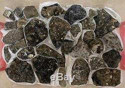 32 Pièces Superbe Pyrite Quartz Boulangérite Spécimen Plat Mexique Zacatecas