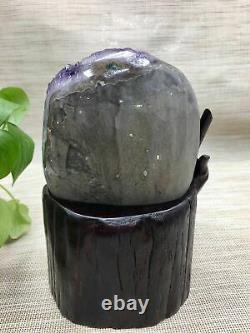 3400g Natural Amethyst Morceau De Cristal Quartz Uruguay Beautiful Purple +stand