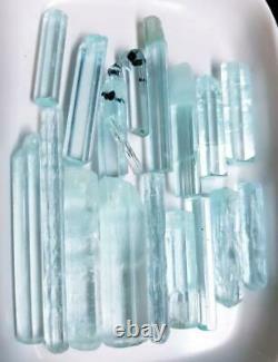 380 Carats 17 Pièces De Haute Qualité Bijoux Taille Aquamarine Cristaux Lot