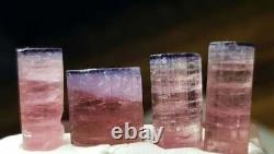 43 Carat 4 Pièces Bi Color Pink Blue Cap Tourmaline Crystal Lot From Afghanistan
