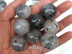 60 Pièces Rare Natural Sphère De Boule De Cristal De Quartz De Tourmaline Natural Curatif