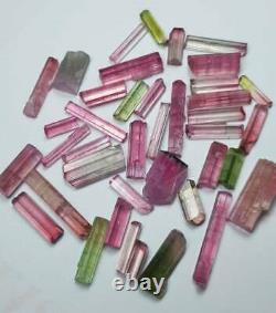 68 Carat 39 Pièces Top Qualité Rose Chaud Bi Couleur Tourmaline Cristal Lot