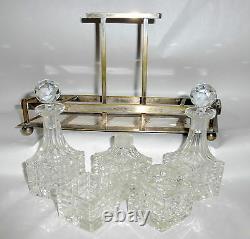 6 Pièces Art Deco Bouteilles De Parfum En Cristal Taille Biseautée Set De Vanité Dans Le Panier En Métal