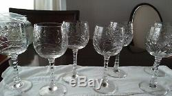 7 Pièces Vin / Eau Goblet, Baden Cristal Vintage / Antique Cut Verre Mcm-parfait
