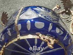 Amazing Cut Bleu Creas Pièce Poignées Bol Bronze Dragon