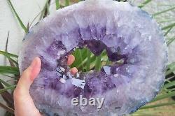 Améthyste Crystal Slice Transversale Pièce De Déclaration Semi Polie Et Stand Violet