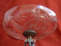 Anticique Allemagne Etched Crystal, Spelter Table Centre Piece, Dernier 19ème Centre