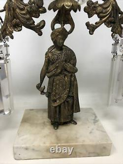 Antique 3 Pièce Girandole Candelabra Candlestick Mantle Set W Crystal Prisms