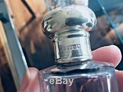Antique 6 Piece Toiletrie Vanity Set Poinçonnés Sterling Cristal Etched Bouteilles