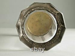 Antique Art Nouveau 3 Pièces En Poudre Pot De Shaker-cristal, Haut De Shaker Sterling, LID