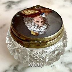Antique Français Cut Crystal & Porcelain Miniature Portrait Patch Box Trinket Box