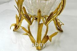 Antique French Baccarat Crystal Bronze Center Piece Chinoiserie Oriental Bamboo
