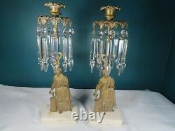 Antique Set De 2 Pièces Solide Brass, Marbre & Cristal Girandole Figuratif