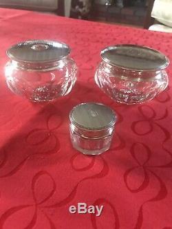 Argent Vintage Sterling Et Cristal 14 Piece Set Vanity Avec 3 Pièces Supplémentaires