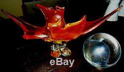 Authentique Feu Glow Dragon Esprit Boule De Cristal Avec Support. Grande Pièce Claire