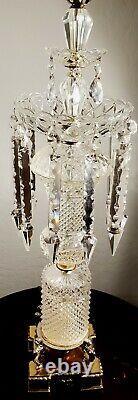 Baccarat Style Hollywood Régence Fine Lampe De Table En Cristal 100% Pièce Complète