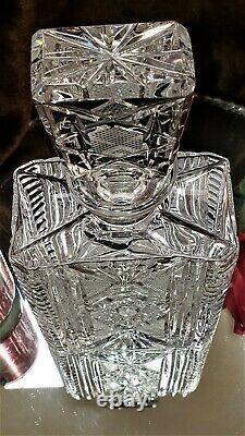 Beautiful Antique Cristal Cut Verre Rectangle Decanter Cut Aux Pieces