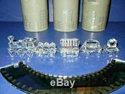 Belle Swarovski Crystal Silver 5 Piece Choo Choo Train Avec Piste Miroir