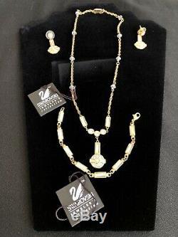 Boucles D'oreilles Vintage En Cristal Autrichien Avec Ton Or Et Bracelet Ensemble De 3 Pièces Tags