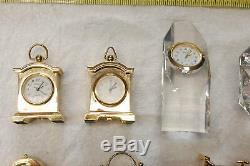 Brass Miniature Collection Horloges Et Cristal Au Plomb Lot De 12 Pièces Bateau Libre