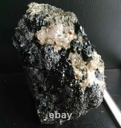Cabinet Specimen Black Tourmaline Avec Quartz De Cristal, 5+lbs Rare Ny Piece