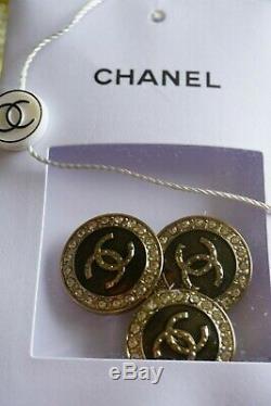 Chanel Boutons 4 Pièces France Logo Taille CC 24 MM 1 Pouce Métal Et Cristaux