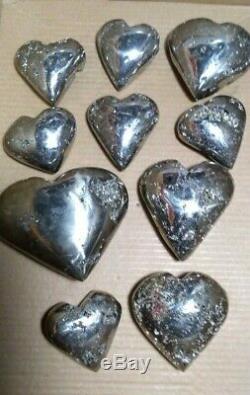 Coeur Drusy Geode Haute Pyrite Qualité 10 Pièces Minéraux Geode Cardiaque Pérou Pyrite