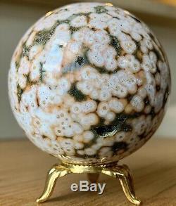 Collectionneurs 61mm Piece Ocean Jasper Sphère Avec Druzy Et Des Centaines De Orbes