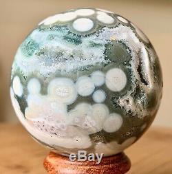 Collectionneurs Piece 57mm 8.7oz Naturel Geode Océan Jasper Cristal Sphère Boule