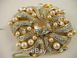 Cristal De Swarovski Signé Arc De Perles Broche Nouveau Pièce De Collectionneurs Rares À La Retraite