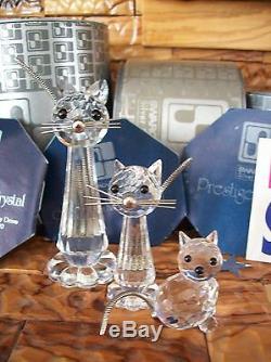 Cristal Swarovski Vintage De 3 Pièces Grand, Med & Mini-cats Boîtes Et Cert Mint