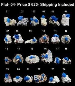 Cristaux Bleus Cavansite (24 Pièces Plates) Minérales Naturelles Echantillon # 04 Flat