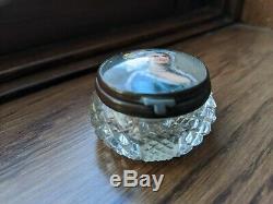 Cut Cristal Mirrored Poudre Ou Boîte Patch Avec Portrait Peint À La Main De La Femme