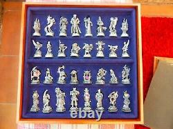 Danbury Mint Swarovski Crystal Fantasy Chess Set Wood Board Pewter Pieces Lotr